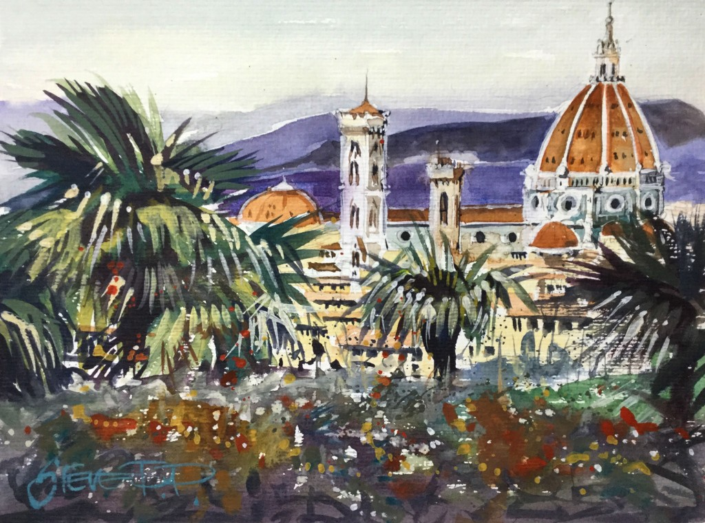Florence In Bloom Italy in watercolours by Steve PP.