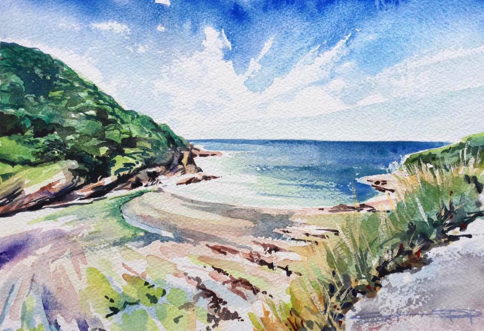 Heavenly Hele Bay North devon Watercolour by Woolacombe artist Steve PP