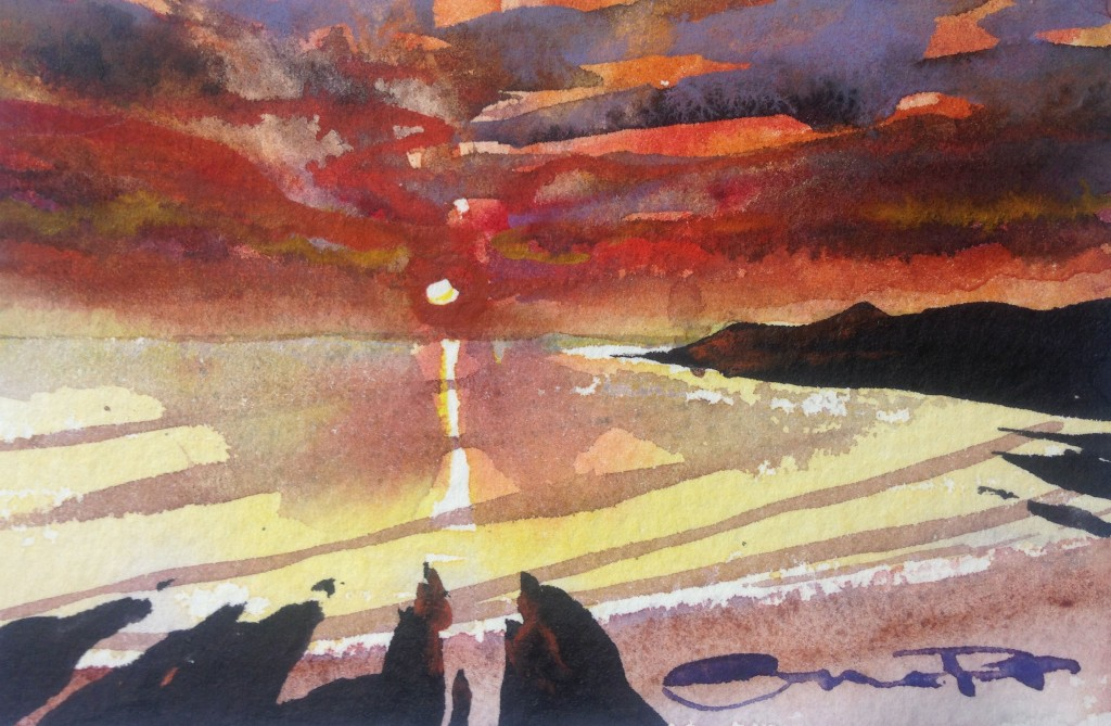 Moody Summer Sunset Christmas Compacts affordable small unique watercolour paintings from Steve PP