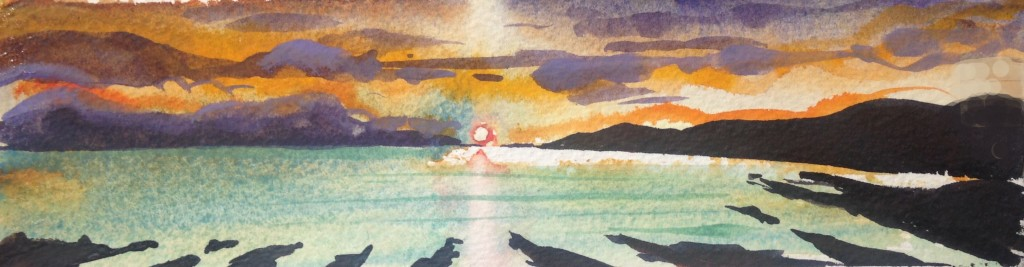 Morte Point Sundial Christmas Compacts affordable small unique watercolour paintings from Steve PP