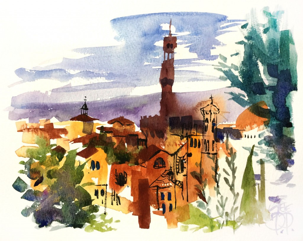 terracotta tiles Florence Italy watercolour by Steve PP