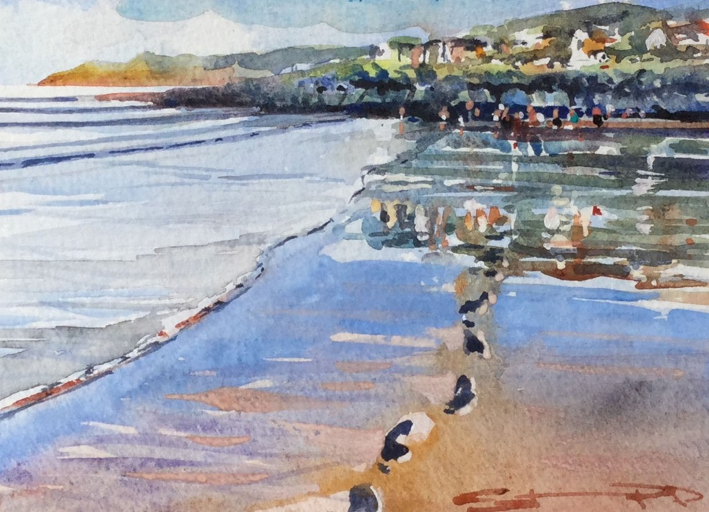 January Morning Tide- Woolacombe Winetr watercolour painting by local artist Steve PP