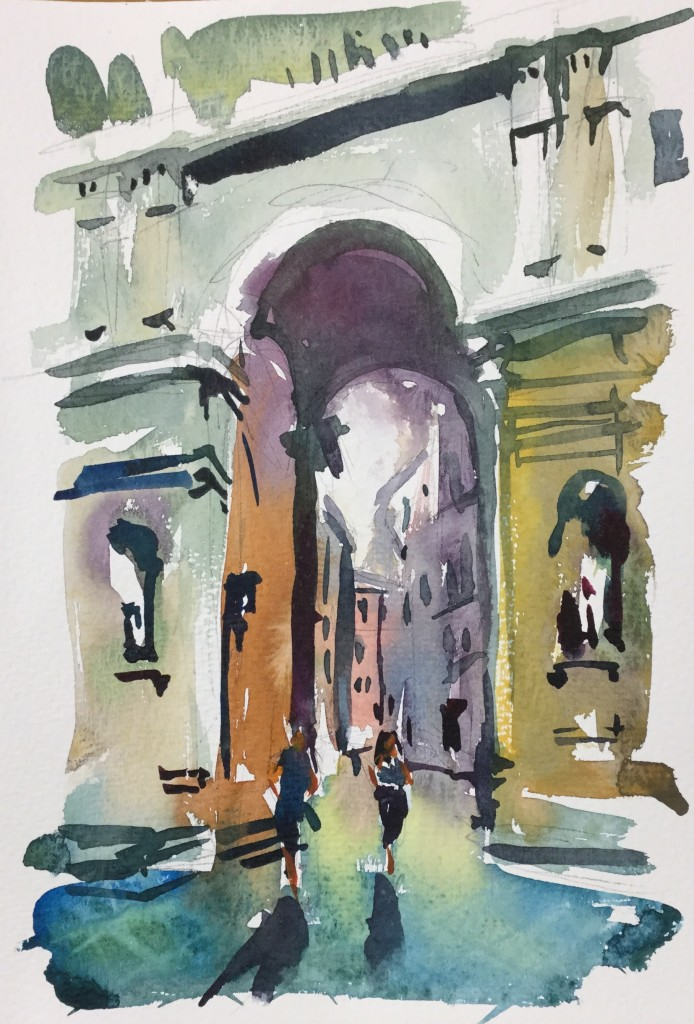 Piazza della Repubblica, Florence, Italy travel sketch watercolour painting by Steve PP Fine Art