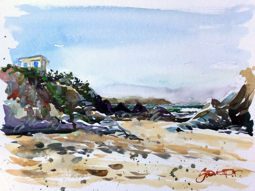 Winter Barricane watercolour paintings by Woolacombe artist Steve PP.