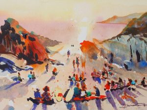 Sunsets and Curries - Woolacombe print edition from Steve PP Fine Art.Barricane Beach, Woolacombe, North Devon.