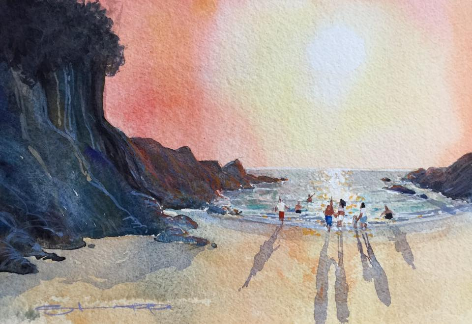 Barricane Summer Evening- Fine Art print from Woolacombe Artist Steve PP.