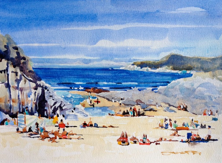 Barricane-Beach-Sunbathers . Enjoying a hot Summer day. Watercolour painting by Woolacombe artist Steve PP.