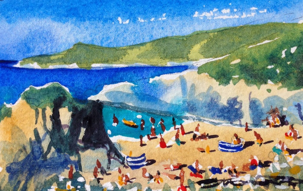 Hot Summer sizzling in the sun on Barricane Beach, Woolacombe. Watercolour painting by Woolacombe artist Steve PP.