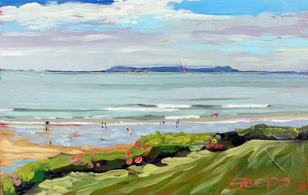 Mid Tide Monday Lundy a beautiful Summers day on Woolacombe Beach. Painting by Steve PP Woolacombe artist