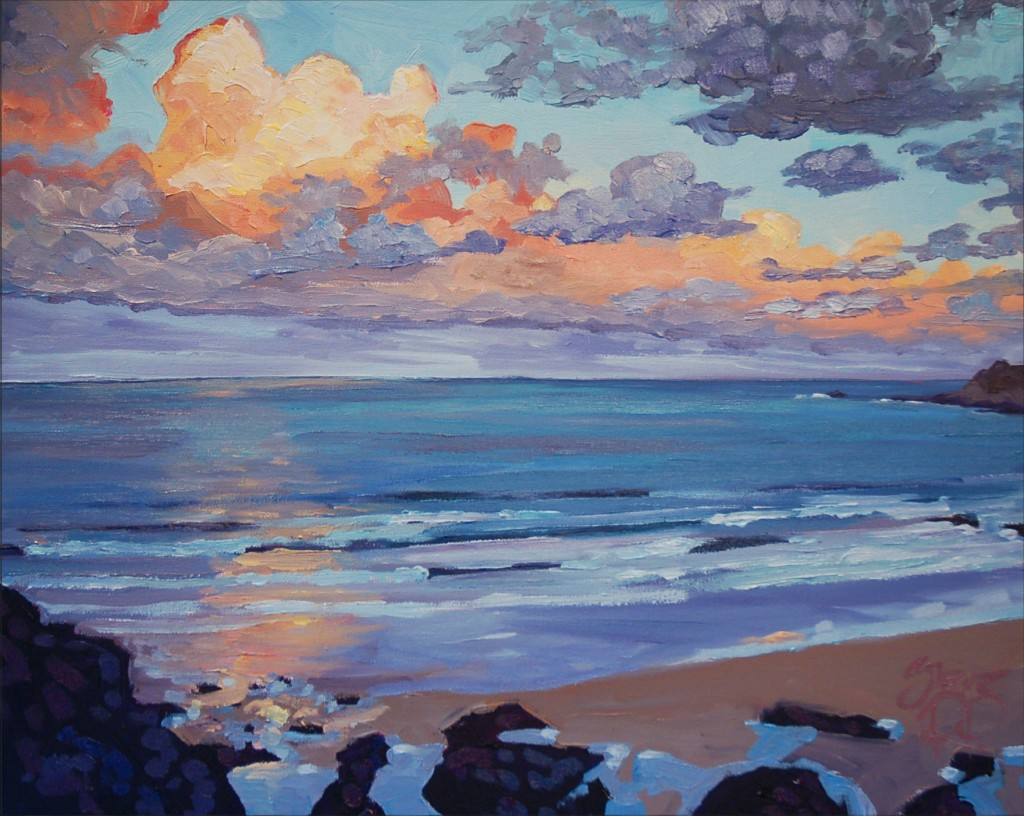 Floating Gold. An early morning sun rise warming the clouds up on woolacombe Beach. Painting by Steve PP.