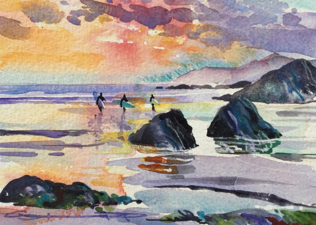 Sundown Session surfers on Woolacombe beach watercolour painting by Steve PP