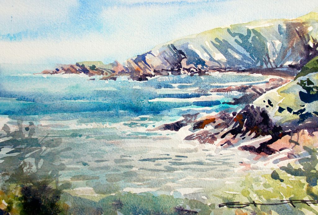May Hele Bay watercolour painting Steve PP