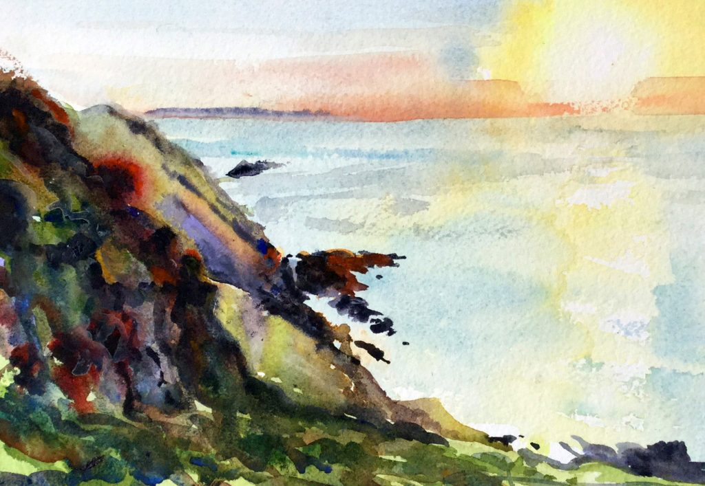 morte point sunset watercolour painting by Steve PP