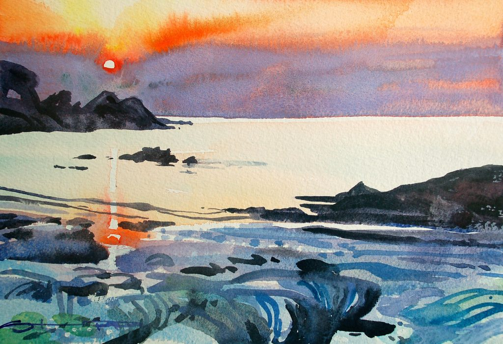 Hele Bay Sunset painting