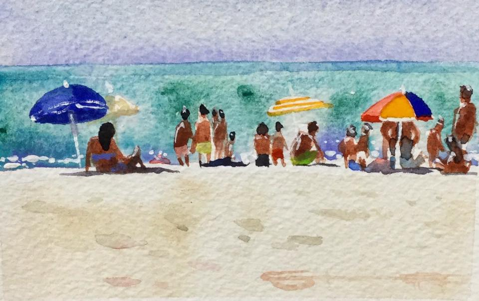 Parasol Beach watercolour