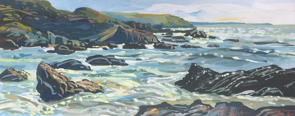 High Tide Sparkles,Woolacombe. Sketch to studio. Steve PP Contemporary Coastal Impressionist.