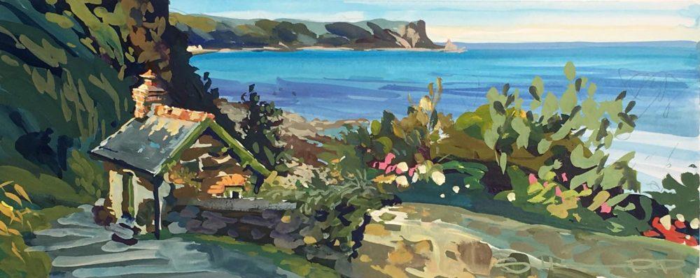 The Artists Cabin Bucks Mills by Steve PP Contemporary British Impressionist Coastal Artist.