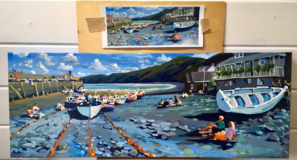 Clovelly Sketch to Studio paintings