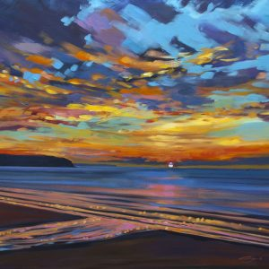 Parting Glimpse of Passion. Stunning winter sunset painting in warm orange and pinks, on Woolacombe Beach North Devon.