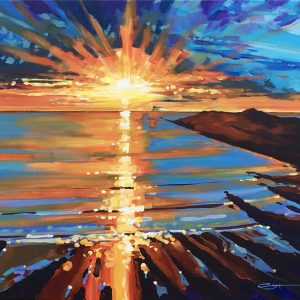 Colourful painting of a Warm golden sunset viewed from Woolacombe Beach, North Devon.
