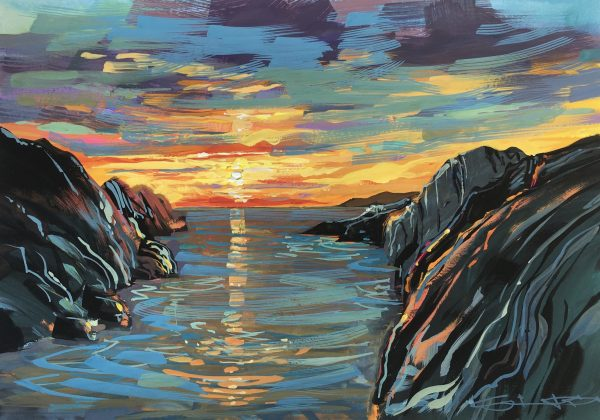 Gouache painting of a colourful Sunset on Barricane Beach, Woolacombe, by British artist Steve PP