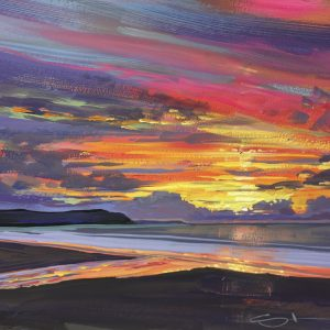 Gouache painting of a beautiful sunset after a spell of heavy weather passes NW over Woolacombe beach North Devon