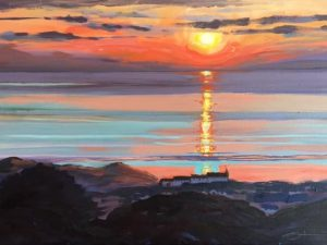 Original painting of a Spring sunset going down near Lundy island, with the Woolacombe Bay Hotel in the foreground.