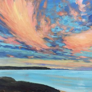 One of many stunning sunsets that light the summer sky up above Woolacombe North Devon. Acrylic painting.
