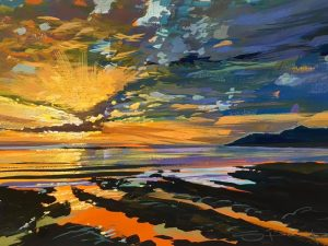 Vibrant colourful painting of an April sunset over Woolacombe by Steve PP.