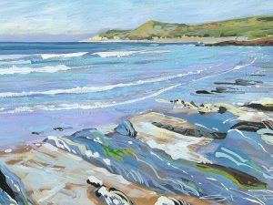 Calm Combesgate painting by Woolacombe artist Steve Pleydell-Pearce