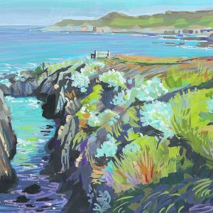 Clear Blue Monday across to Morte Point by woolacombe artist Steve Pleydell-Pearce