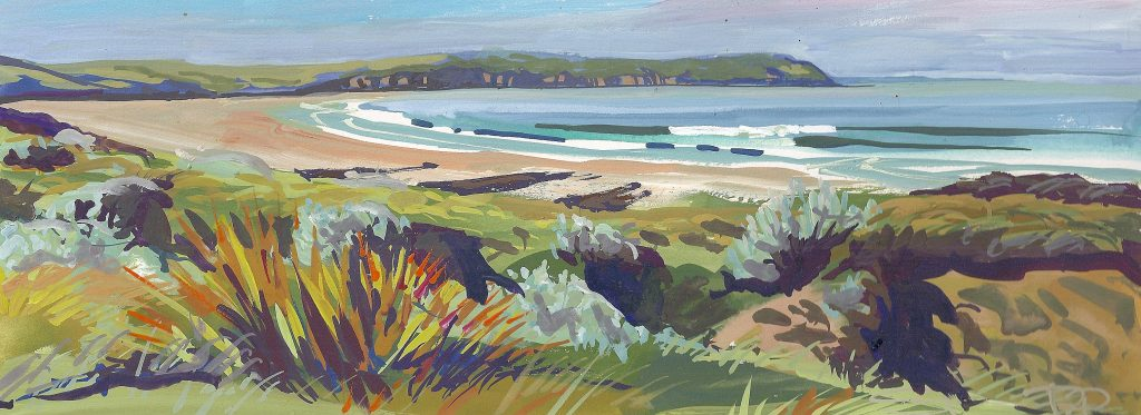 Glassy May Morning Woolacombe painting by artist Steve Pleydell-Pearce