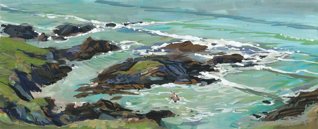 sea swimmers bathing on woolacombe beach , gouache painting by artist steve pleydell-pearce