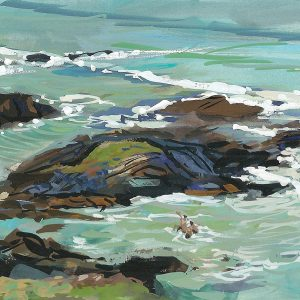 sea swimmers bathing on woolacombe beach , gouache painting by artist steve pleydell-pearce