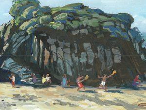 Monkey Island Barricane Beach Woolacombe painting by artist Steve Pleydell-Pearce
