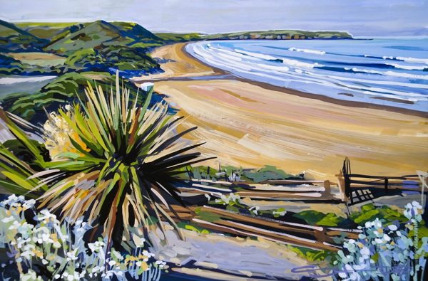 Hot day in May on an empty Woolacombe beach, pinting by Woolacombe artist Steve PP