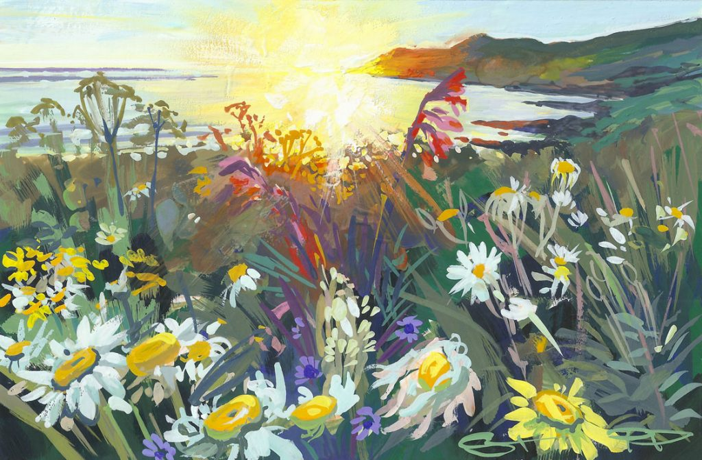 Spring flowers glowing in a late may sunset at woolacombe Beach, painted by Woolacombe artist Steve PP