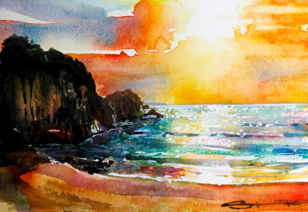 A hot steamy sunset with a summer thunderstorm brewing over Barricane beach, painted by local woolacombe artist Steve PP.