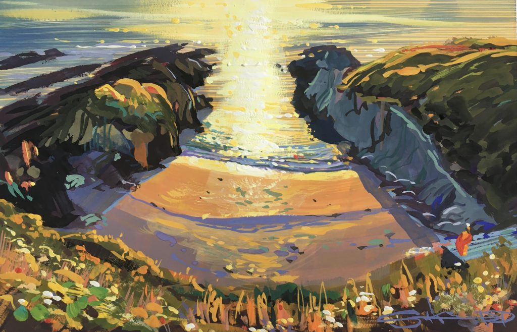 Gouache painting of a warm golden september sunset on Barricane Beach Woolacombe painted by Steve PP