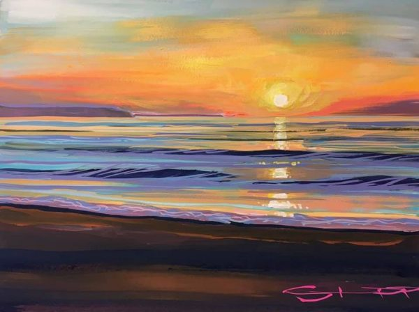 r a day of grey mizzle the sun shone on Woolacombe Beach. Colourful painting by Steve PP.