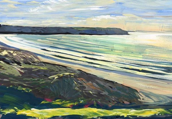 colourful painting of sunlight sparkling on the sea at Woolacombe Beach, North Devon by local artist Steve PP.