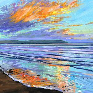 Winter solstice sunset painting over woolacombe beach by devon landscape artist Steve PP>