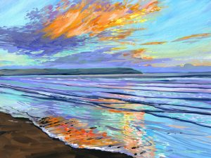 Winter solstice sunset painting over woolacombe beach by devon landscape artist Steve PP>