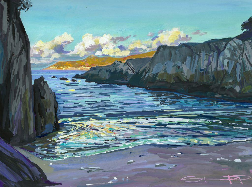 Fancy a dip - Barricane beach gouache painting by Woolacombe landscape artist Steve PP
