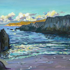 Fancy a dip - Barricane beach gouache painting by Woolacombe landscape artist Steve PP