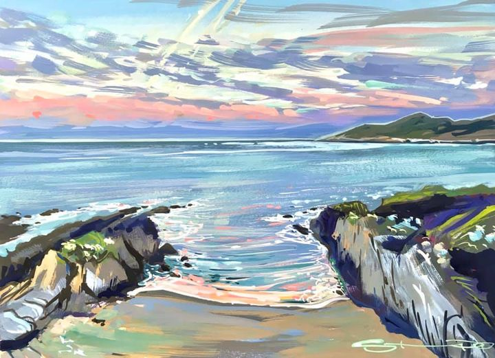 early morning moon over barricane beach woolacombe. painted by devon artist Steve PP.