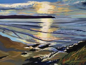 colourful sunset painting over Woolacombe Beach by Devon landscape artist Steve PP.