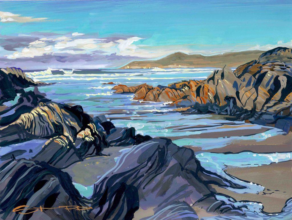 Barricane beach in the December sunshine. Colourful seascape gouache landscape painting by woolacombe artist Steve PP.