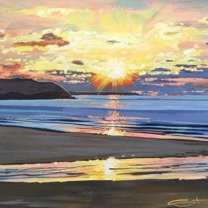 winter sunset painting woolacombebeach by devon artist Steve PP