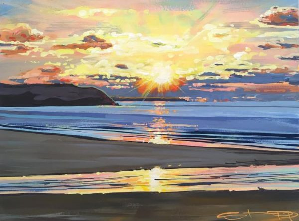 winter sunset painting woolacombebeach by devon artist Steve PP